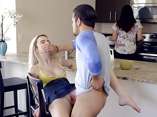 Tight blonde gets fucked adjacent to mommy alongside the room