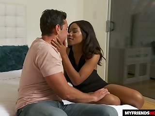 Head over heels in love with busty sexpot Jenna Foxx gives stud a good drove on high peak