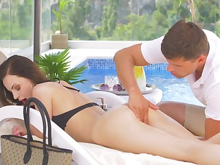 Fortifying rub-down and poolside sex for scrumptious Victoria Traveler